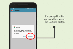 vidmate apk - pop up instructions and how to deal with it.