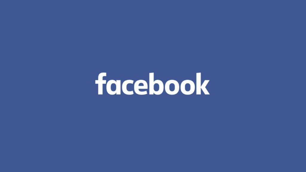 White facebook logo on blue background
