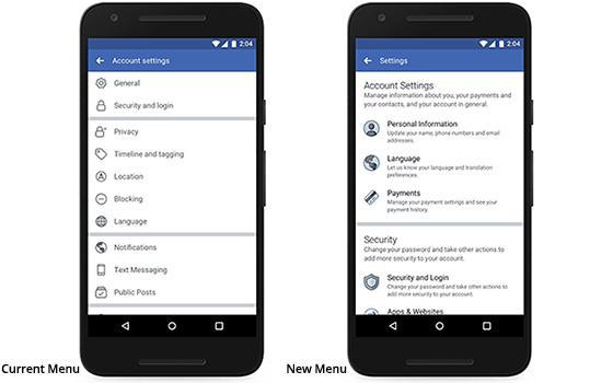 settings options in Facebook Apk