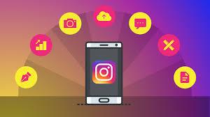 instagram apk - features shown in bubbles