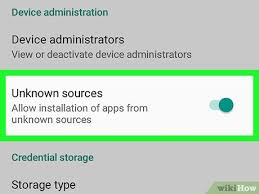 unknown sources option toggle button