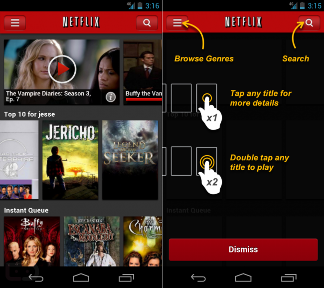visual intructions on how to use Netflix buttons.