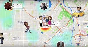 snap map feature with friends avatars places on map.