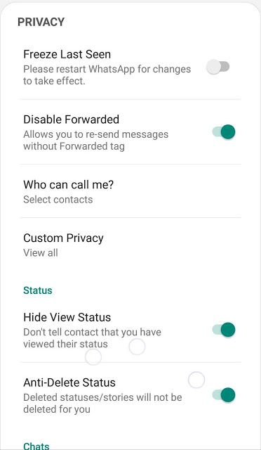 FMWhatsapp privacy centric options and toggles