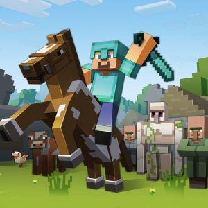 minecraft mod apk - character on a horse with a sword.