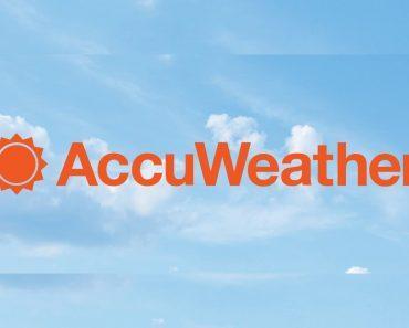 Accuweather mod apk - orange logo with blue background.