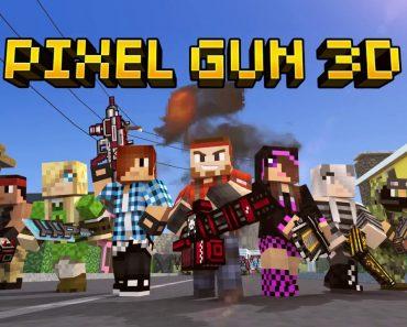 pixel gun 3D logo with characters.