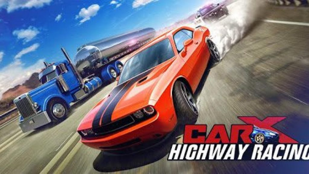 red car with blue truck racing in game.