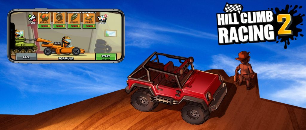Hill climb racing 2 - red jeep with phone view of gameplay.