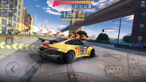 drift racing with control on screen
