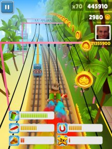 collects coins while running on train tracks.