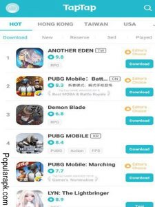 apps from other countries like hong kong, aiwan, usa only on taptap apk