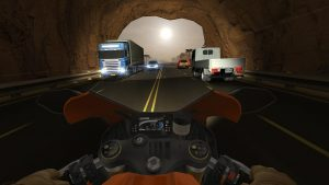 drive on the road with incoming and outgoing traffic with cars and trucks