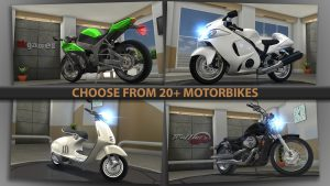 you can choose from 20 plus motobikes in traffic rider mod apkk