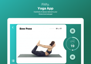 yoga app where there are class and you can do bow pose