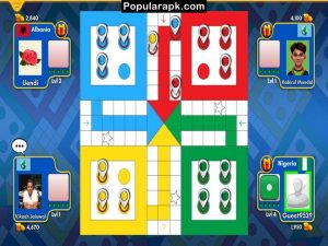 ludo classic board with four colors and 4 players.