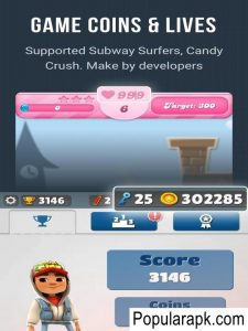 use game coins and lives in subway surfer, candy crush using Lulubox apk