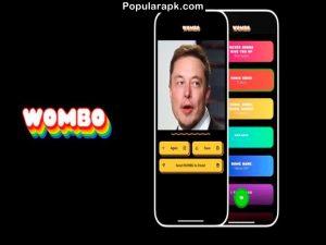 elun musk in phone with wombo logo.