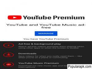 Youtube Premium mod apk on popularapk.com