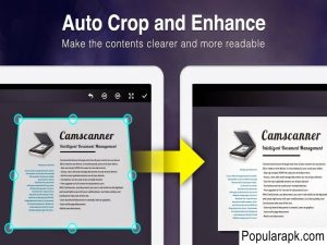 Auto crop and enhance in camscanner pro apk