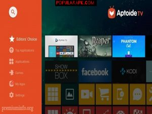 Aptoide Home screen in Android TVs.