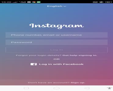 GB Instagram mod apk login page