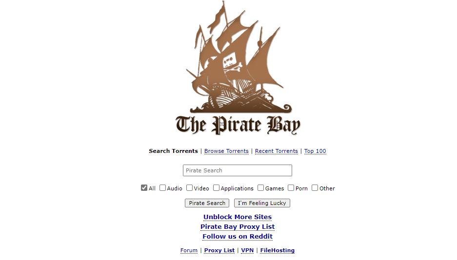 thepiratebay or TBP homepage screenshot.