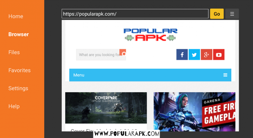 open broswer and type popularapk.com to open the site inside the app.