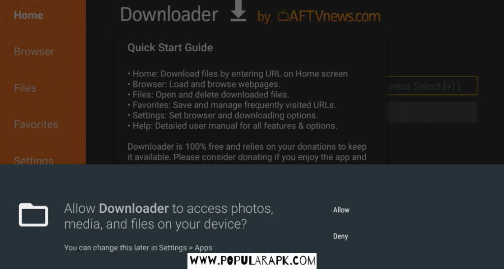 allow all access to downloader to continue.