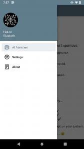FDE AI menu showing AI Assistant as option.