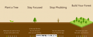 plant a tree, stay focused, stop phubbing, build your forest.