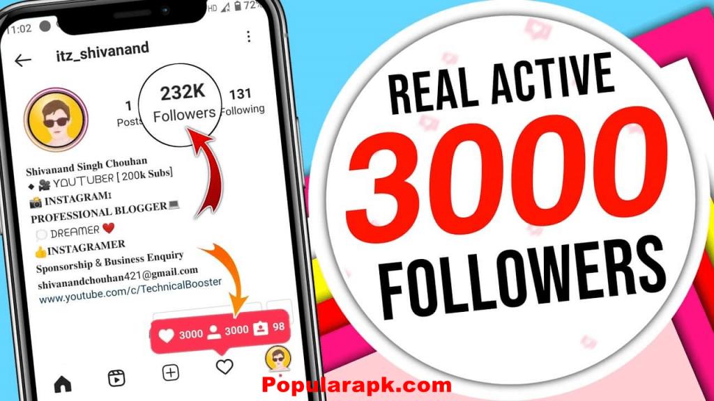 real active 3000 followers screenshot.