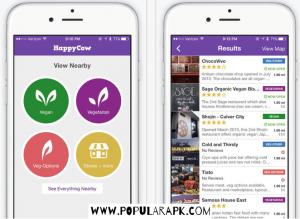 homepage of Happycow App