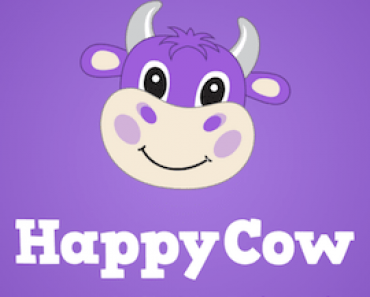 Happycow logo with blue background.