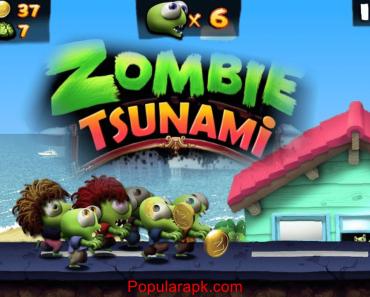 Zombie Tsunami mod apk logo with cover image.