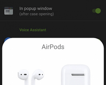 shows the pods and case battery percentage.